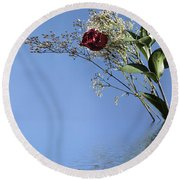 Rosy Reflection - Right Side Round Beach Towel