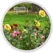 Rosy View - Beautiful Rose Garden Of The Huntington Library. Round Beach Towel