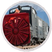 Rotary Snow Thrower 99201 In The Colorado Railroad Museum Round Beach Towel