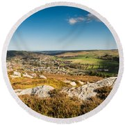 Rothbury Town From The Terraces Round Beach Towel