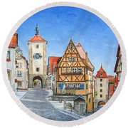 Rothenburg Germany Round Beach Towel