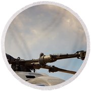 Rotor Navy Helicopter. Round Beach Towel