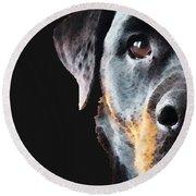 Rottie Love - Rottweiler Art By Sharon Cummings Round Beach Towel