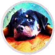 Rottie Puppy By Sharon Cummings Round Beach Towel by Sharon Cummings