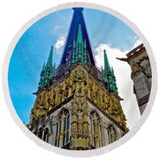 Rouen Church Steeple Round Beach Towel