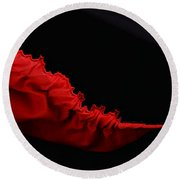 Rouge Et Noir - Red And Black - Abstract Round Beach Towel