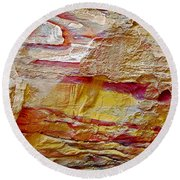 Rough And Red Rock In Petra-jordan  Round Beach Towel