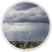 Rough Skys Over Colorado Plateau Round Beach Towel