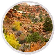 Rough Terrain In Autumn Along Zion-mount Carmel Highway In Zion Np-ut Round Beach Towel
