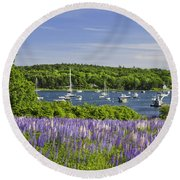 Round Pond Lupine Flowers On The Coast Of Maine Round Beach Towel