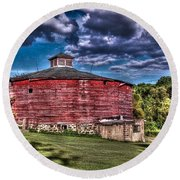Round Red Barn Round Beach Towel