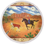 Round Up And Cattle Brands Round Beach Towel