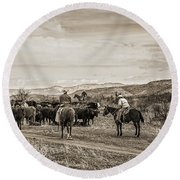 Rounding Up Cattle In Cornville Arizona Sepia Round Beach Towel