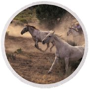 Rounding Up Horses On The Ranch Round Beach Towel