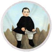Rousseau's Boy On The Rocks Round Beach Towel