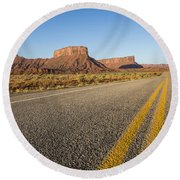 Route 128 Near Castle Valley Round Beach Towel