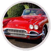 Route 66 - 1961 Corvette Round Beach Towel
