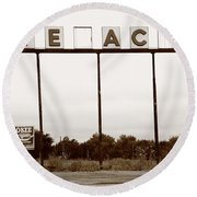 Route 66 - Abandoned Texaco Station Round Beach Towel
