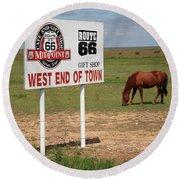 Route 66 - Adrian Texas Round Beach Towel