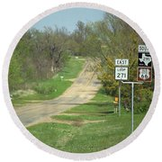 Route 66 - Alanreed Texas Round Beach Towel