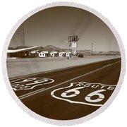 Route 66 - Amboy California Round Beach Towel