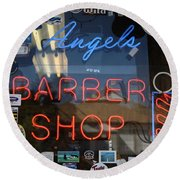 Route 66 - Angel's Barber Shop Round Beach Towel