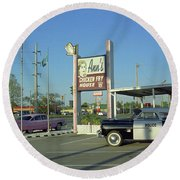 Route 66 - Anns Chicken Fry House Round Beach Towel by Frank Romeo