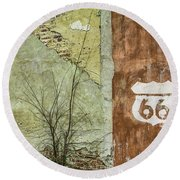 Route 66 Brick And Mortar Round Beach Towel