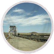 Route 66 Bridge - New Mexico Round Beach Towel