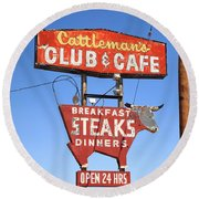 Route 66 - Cattleman's Club And Cafe Round Beach Towel