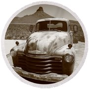 Route 66 - Classic Chevy Round Beach Towel