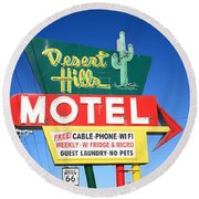 Route 66 - Desert Hills Motel Round Beach Towel