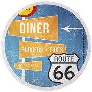 Route 66 Diner Round Beach Towel