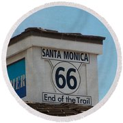 Route 66 - End Of The Trail Round Beach Towel by Kim Hojnacki