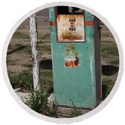 Route 66 Gas Pump - Adrian Texas Round Beach Towel
