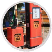 Route 66 Gas Pumps Round Beach Towel