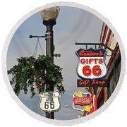 Route 66 In Williams Arizona Round Beach Towel