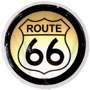 Route 66 Lighted Sign Round Beach Towel