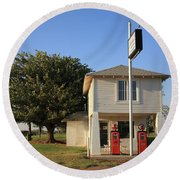 Route 66 - Lucilles Gas Station Round Beach Towel