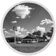 Route 66 - Midpoint Cafe Adrian Texas Round Beach Towel