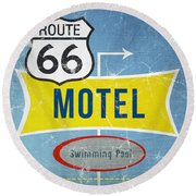 Route 66 Motel Round Beach Towel by Linda Woods