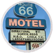 Route 66 Motel Sign 3 Round Beach Towel