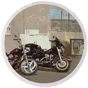 Route 66 Motorcycles With A Dry Brush Effect Round Beach Towel