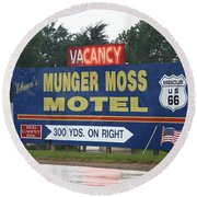 Route 66 - Munger Moss Motel Sign Round Beach Towel