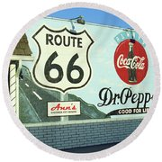 Route 66 - Mural With Shield Round Beach Towel