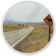 Route 66 - New Mexico Highway Round Beach Towel