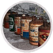 Route 66 Odell Il Gas Station Oil Cans Digital Art Round Beach Towel