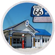 Route 66 Odell Il Gas Station Signage 01 Round Beach Towel