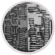 Route 66 Odell Il Gas Station Tools Black And White Round Beach Towel