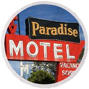 Route 66 - Paradise Motel Round Beach Towel by Frank Romeo